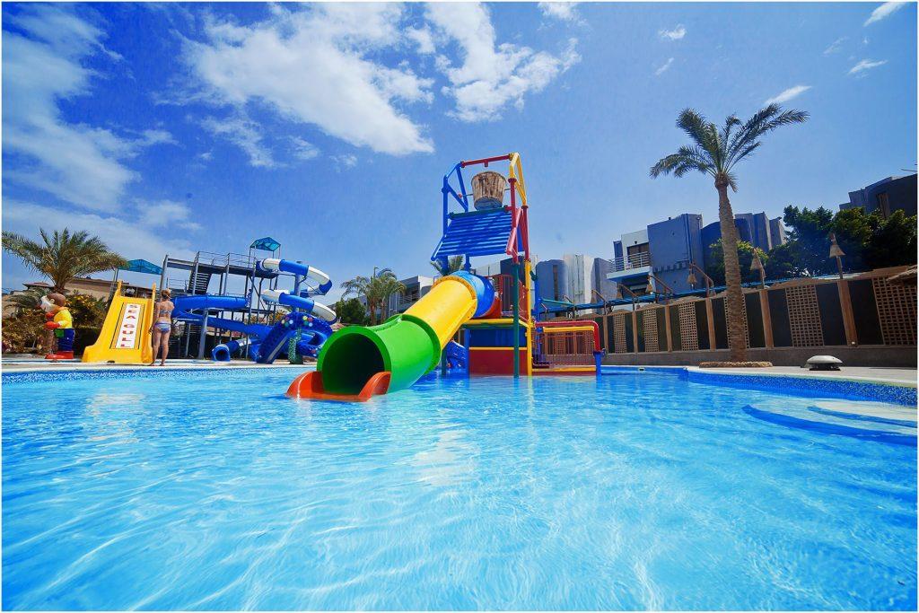 Waterpark van het Seagull Resort in Hurghada, Egypte