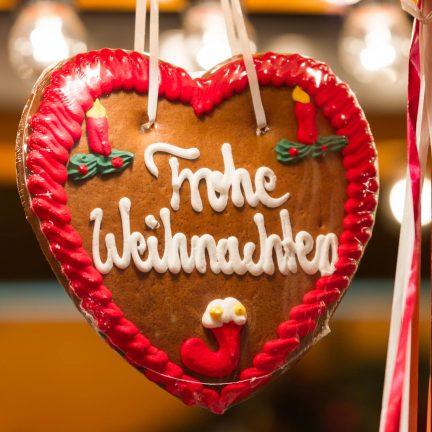 Frohe Weihnachten Kerstmarkt in Munster, Duitsland
