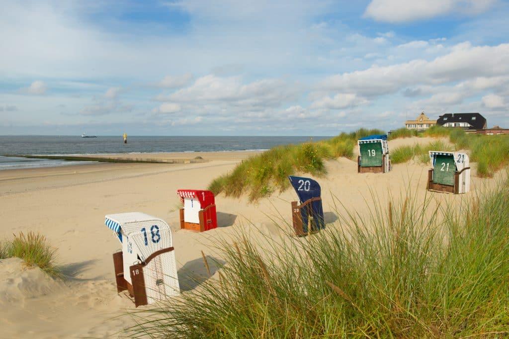 Strandhuisjes op het strand van Borkum, Duitsland