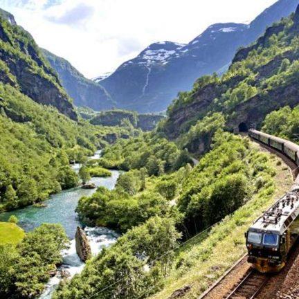 Trein van Oslo naar Bergen in Noorwegen