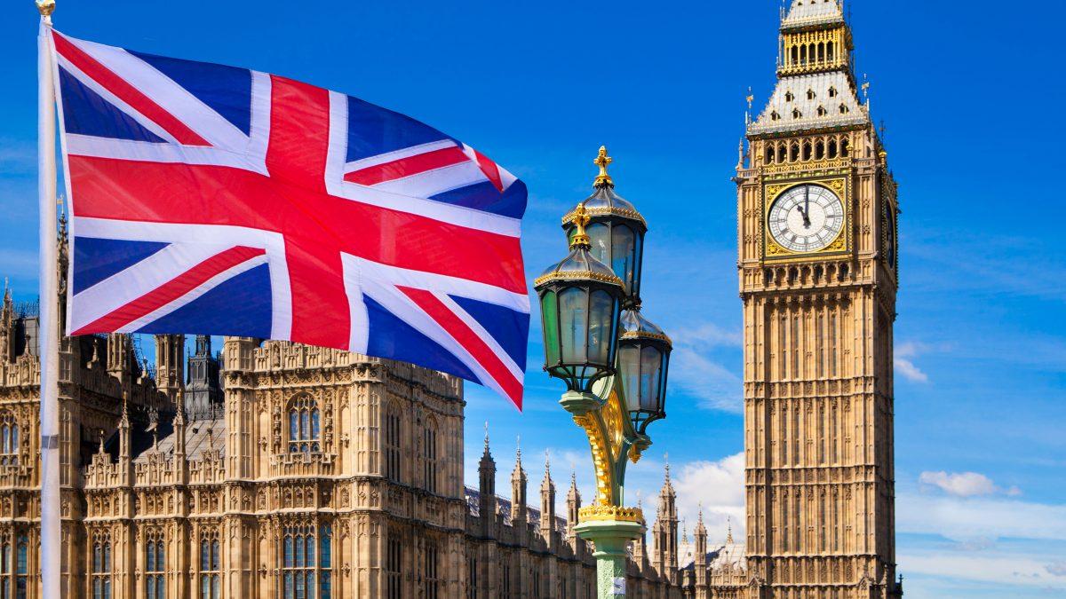 Vlag van Verenigd Koninkrijk met de Big Ben op de achtergrond