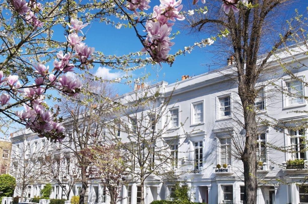 Huizen in de wijk Kensington, Londen