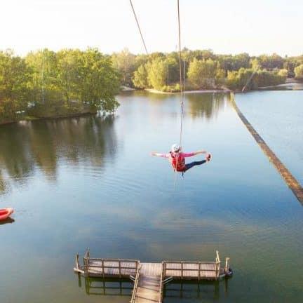 Zipline van Center Parcs de Kempervennen in Valkenswaard, Noord-Brabant