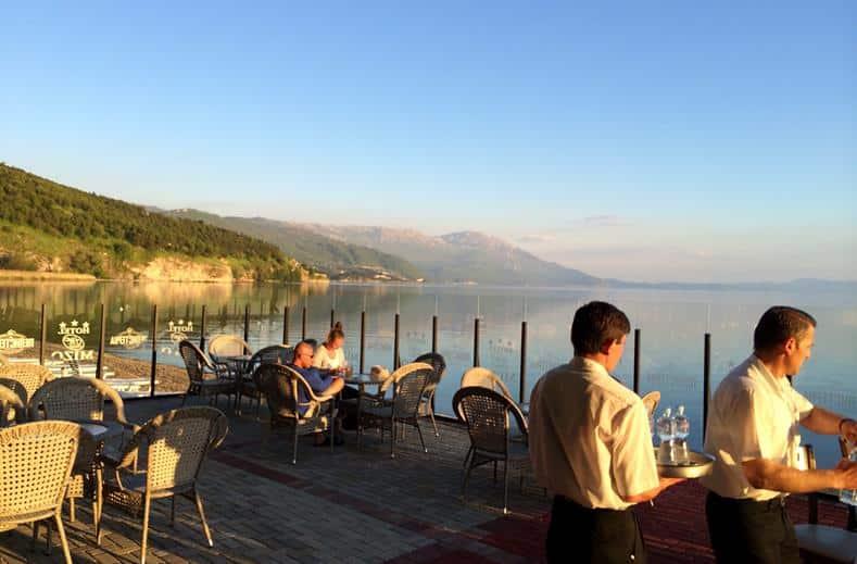 Uitzicht van Hotel Mizo in Ohrid, Macedonië