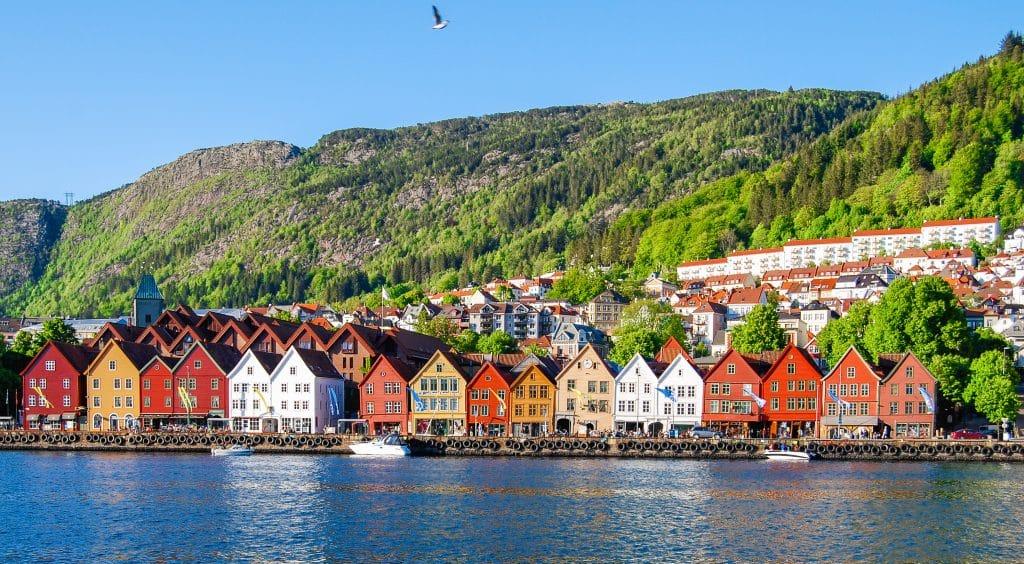 Oude huisjes in Bergen, Noorwegen