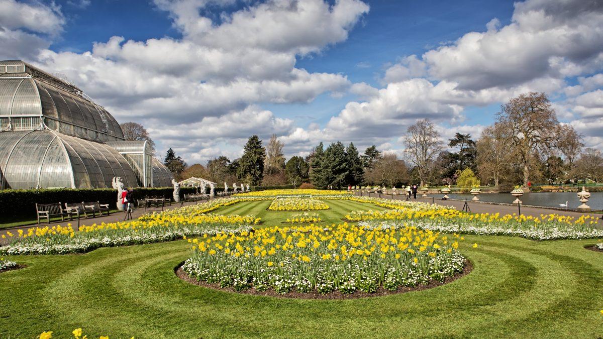 De kas en bloementuin van Kew Gardens in Londen, Engeland