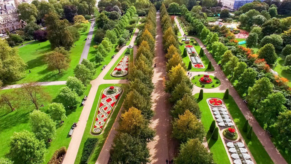Regent's Park vanaf boven gezien in Londen, Engeland