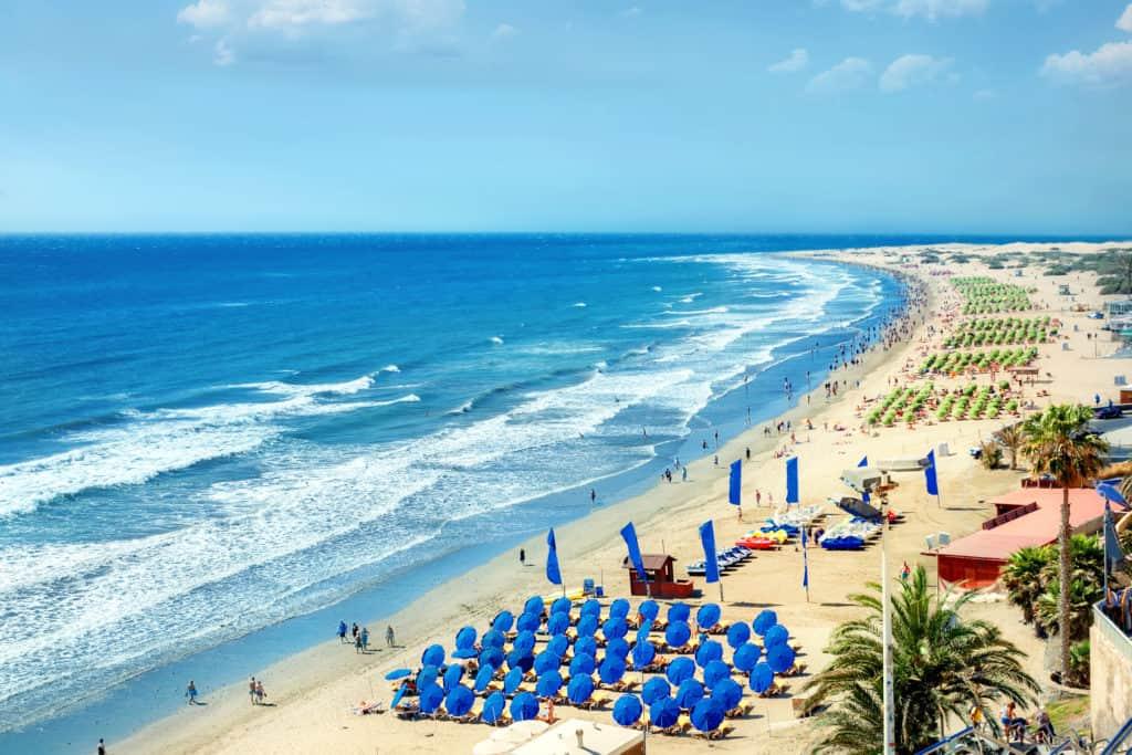 Strand van Playa del Ingles in Maspalomas, Gran Canaria