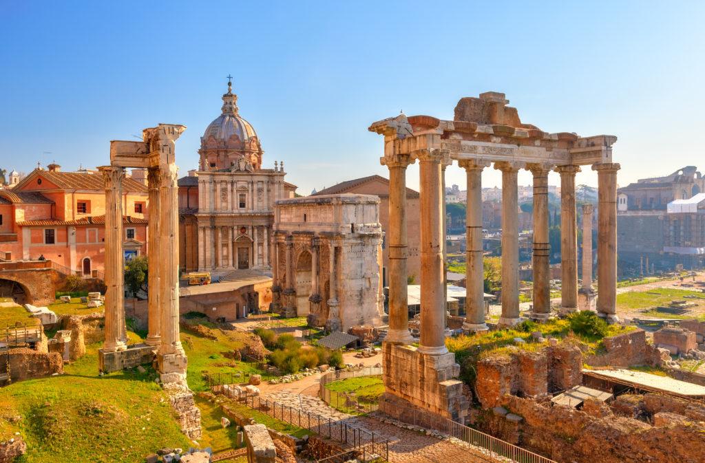 Uitzicht op het Forum Romanum in Rome, Italië