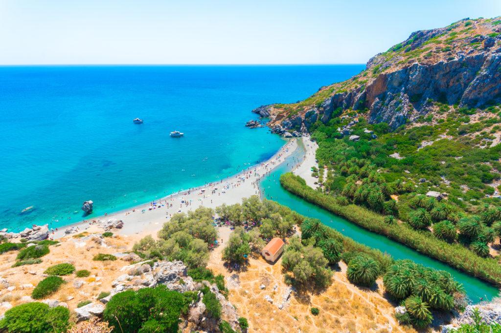 Uitzicht over Preveli Beach op Kreta, Griekenland