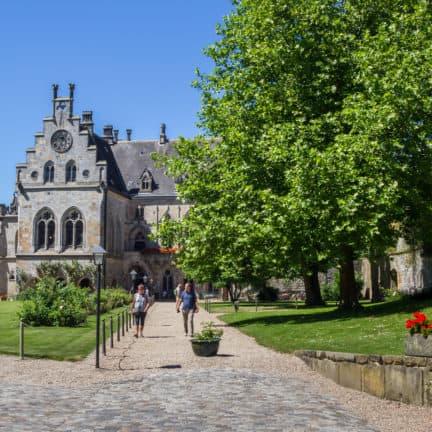 Panorama van de binnenplaats van het Kasteel Bentheim in Duitsland