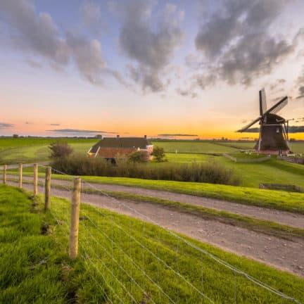 Uitzicht over het Groningse landschap met een oude boerderij en windmolen