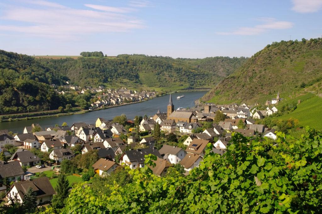 Uitzicht op de Moezel en het stadje Alken in Duitsland