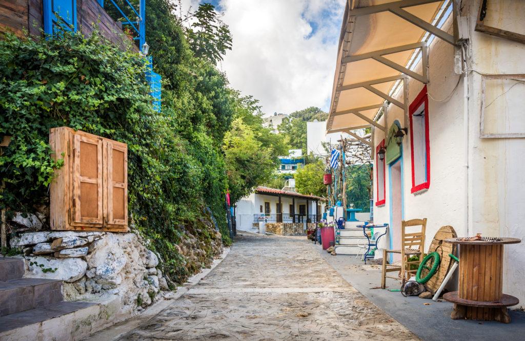 Straat in Zia op Kos, Griekenland