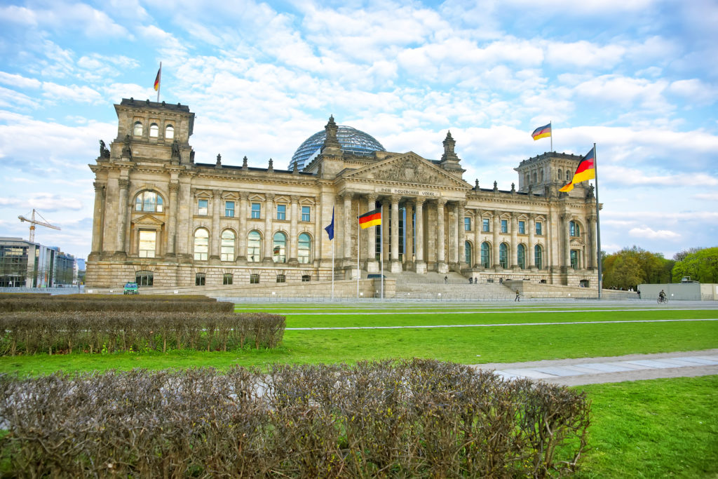 Uitzicht op de Reichstag in Berlijn, Duitsland