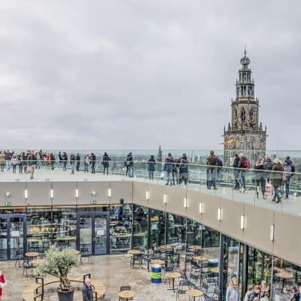 Uitzicht vanaf Forum Groningen met de Martinitoren in de verte