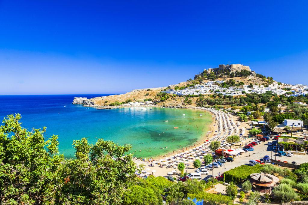 Een baai op het Griekse eiland Rhodos