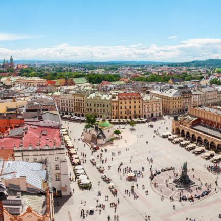Grote plein in het centrum van Krakau, Polen