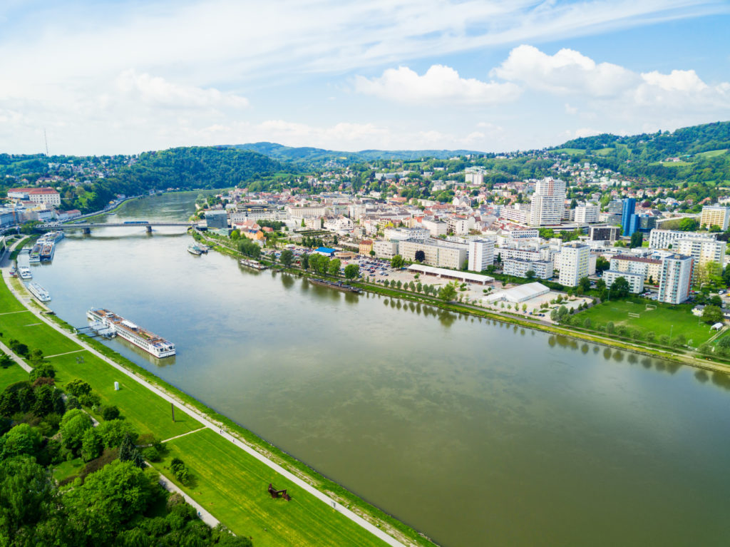 Uitzicht op Linz in Oostenrijk