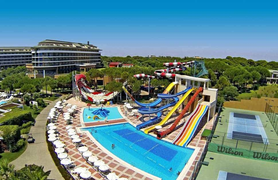 Waterpark van Voyage Belek Golf & Spa in Belek, Turkse Rivièra, Turkije