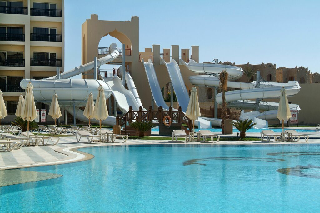 Glijbanen van Steigenberger Aqua Magic in Hurghada, Rode Zee, Egypte
