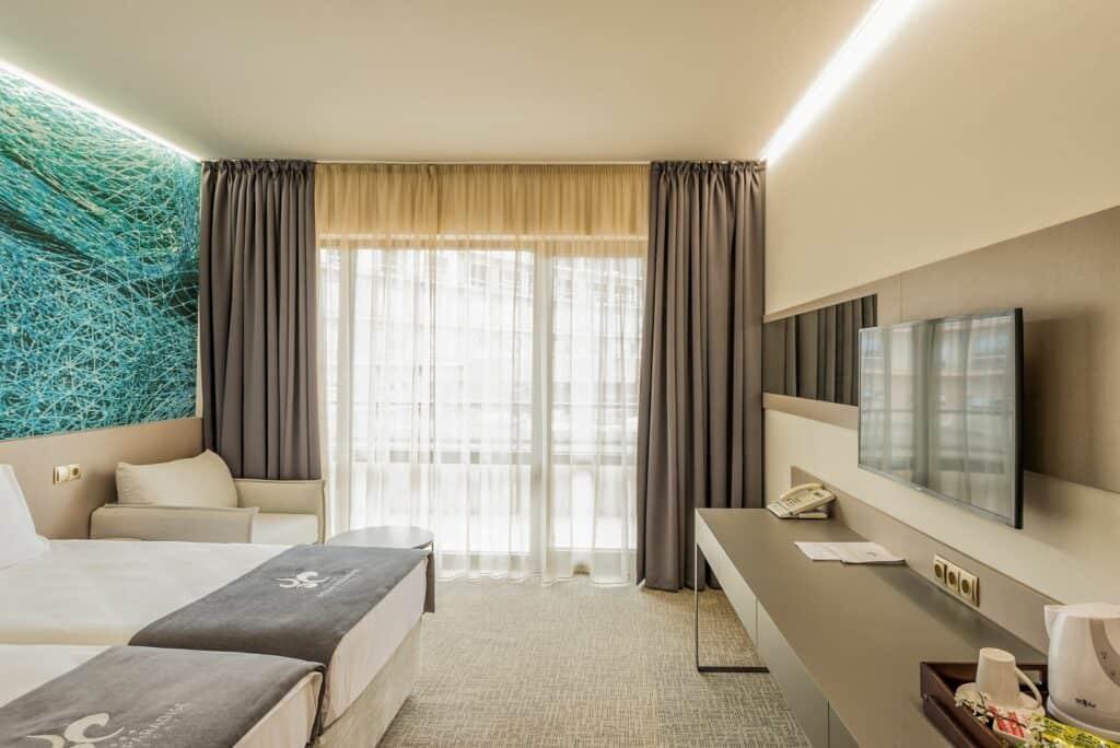 Hotelkamer van Aqua Paradise Resort & Aqua Park in Nessebar, Burgas, Bulgarije