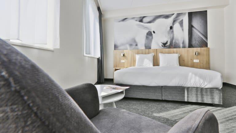 Hotelkamer van Hotel De Bonte Wever in Assen, Drenthe, Nederland