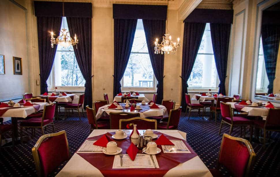 Restaurant van The Columbia Hotel in Londen, Engeland, Verenigd Koninkrijk