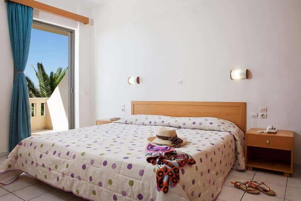Slaapkamer van appartement van Marino's Beach Appartementen in Rethymnon, Kreta, Griekenland