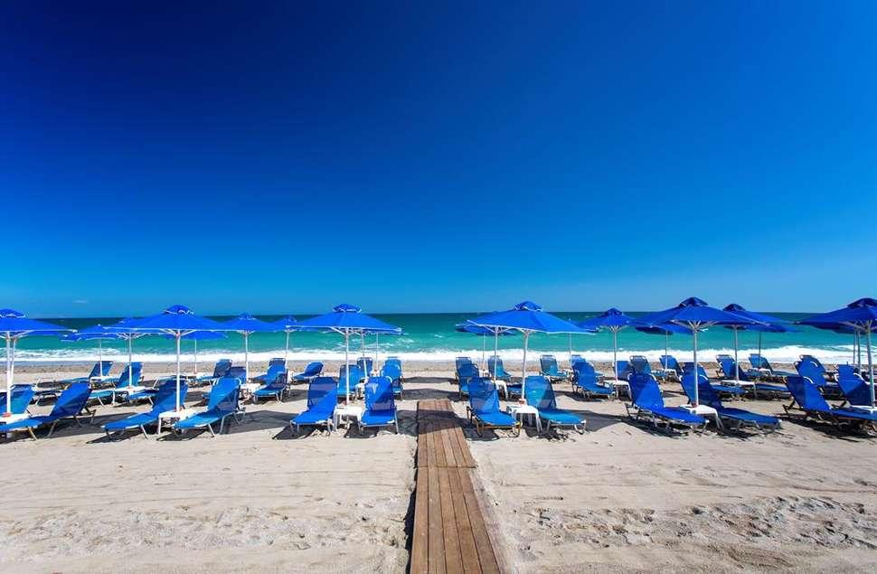 Strand van Marino's Beach Appartementen in Rethymnon, Kreta, Griekenland