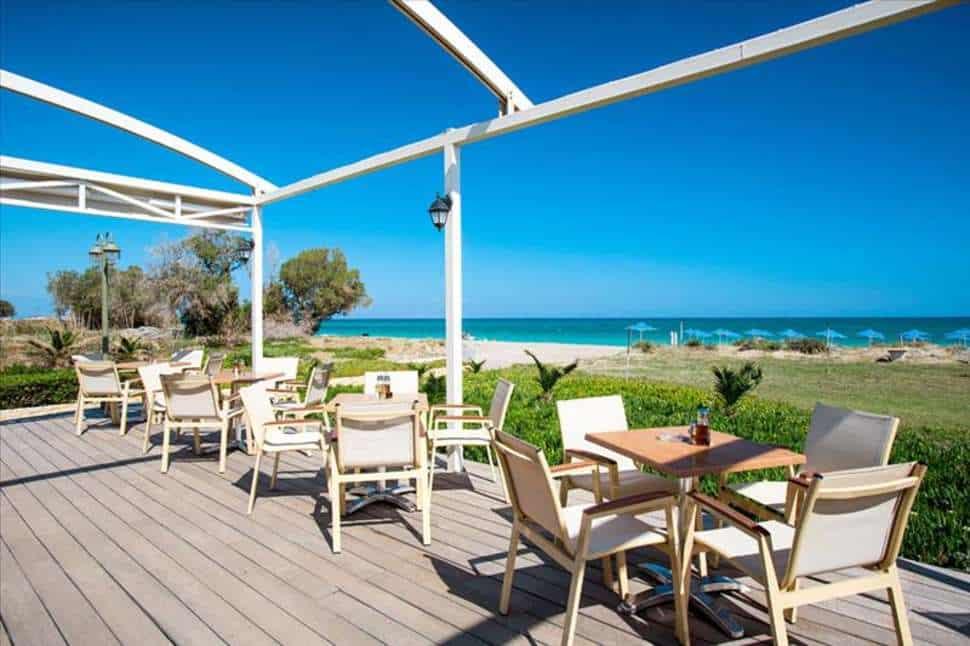 Terras van Marino's Beach Appartementen in Rethymnon, Kreta, Griekenland