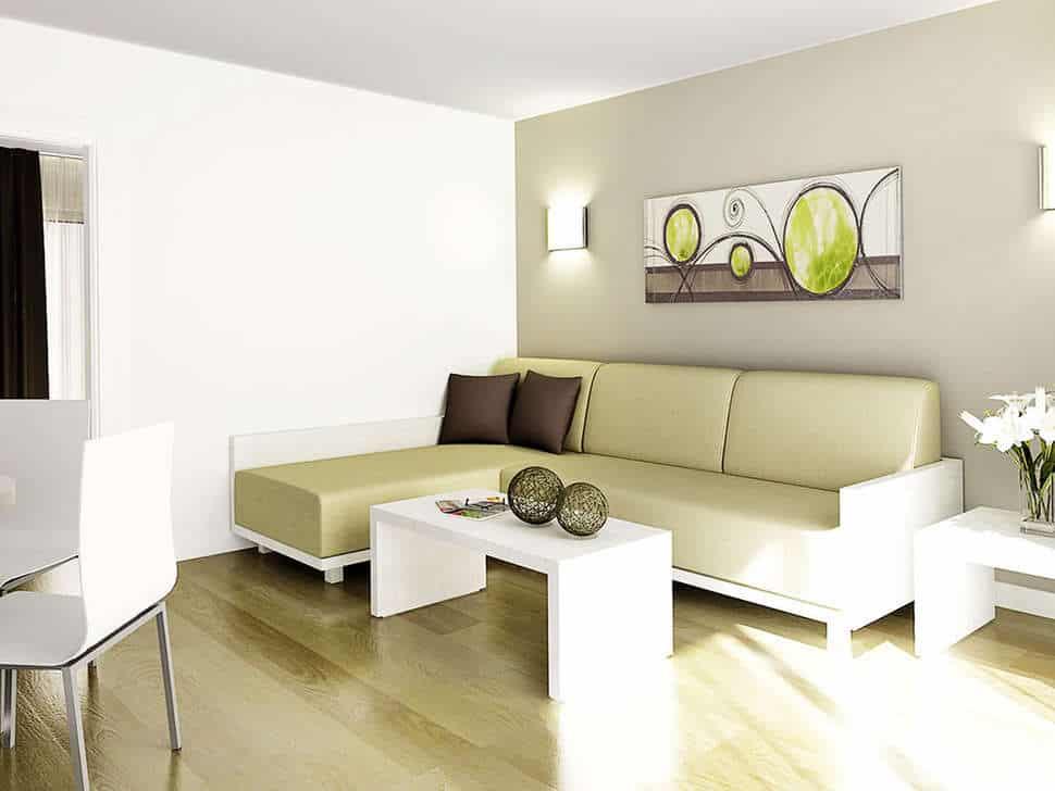 Woonkamer van appartement van HL Paradise Island in Playa Blanca, Lanzarote, Spanje