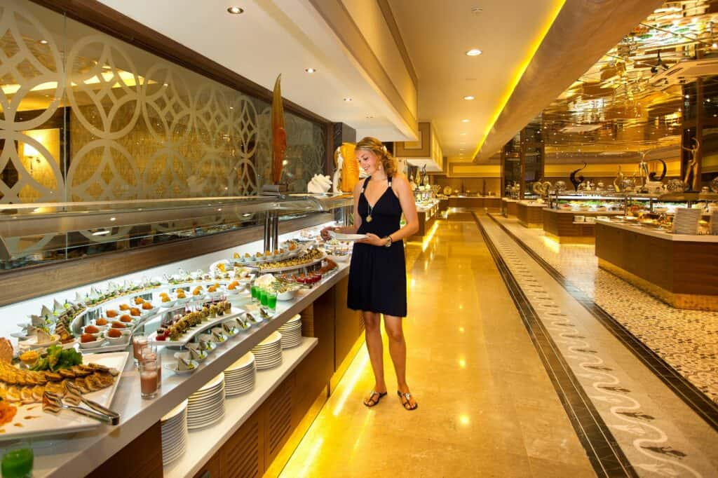 Buffetrestaurant van Royal Holiday Palace in Lara Beach, Turkse Rivièra, Turkije