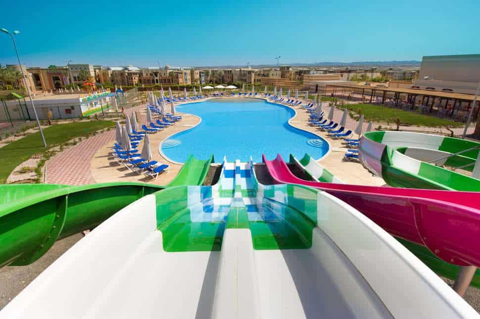 Glijbanen van Sunrise Marina Resort in Marsa Alam, Rode Zee, Egypte