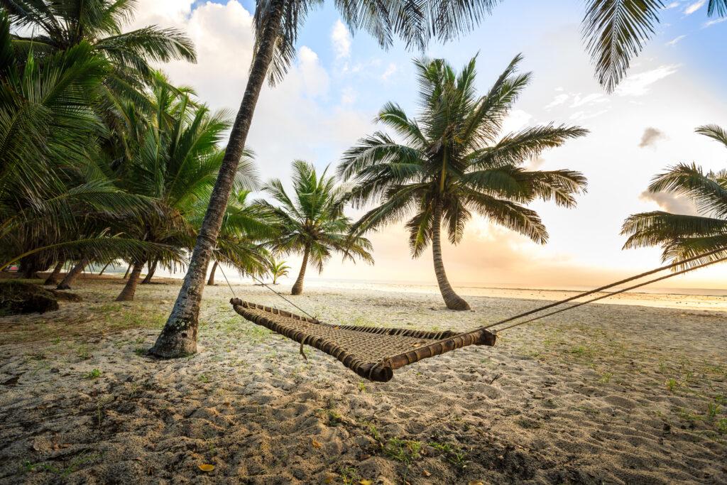 Hangmat tussen twee palmbomen op een strand in Diani Beach, Kenia