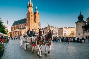 Twee paarden voor een ouderwetse koets in het centrum van Krakau, Polen