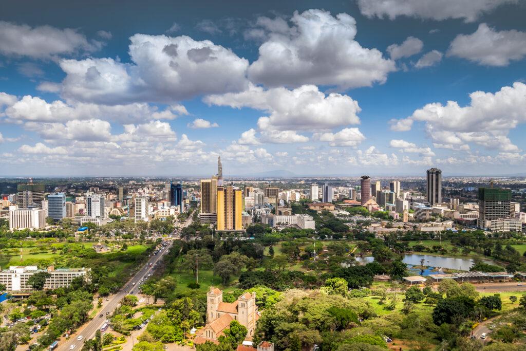 Uitzicht op het centrum van Nairobi in Kenia