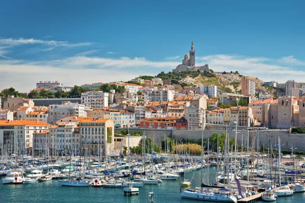 Uitzicht op de oude haven van Marseille, Frankrijk