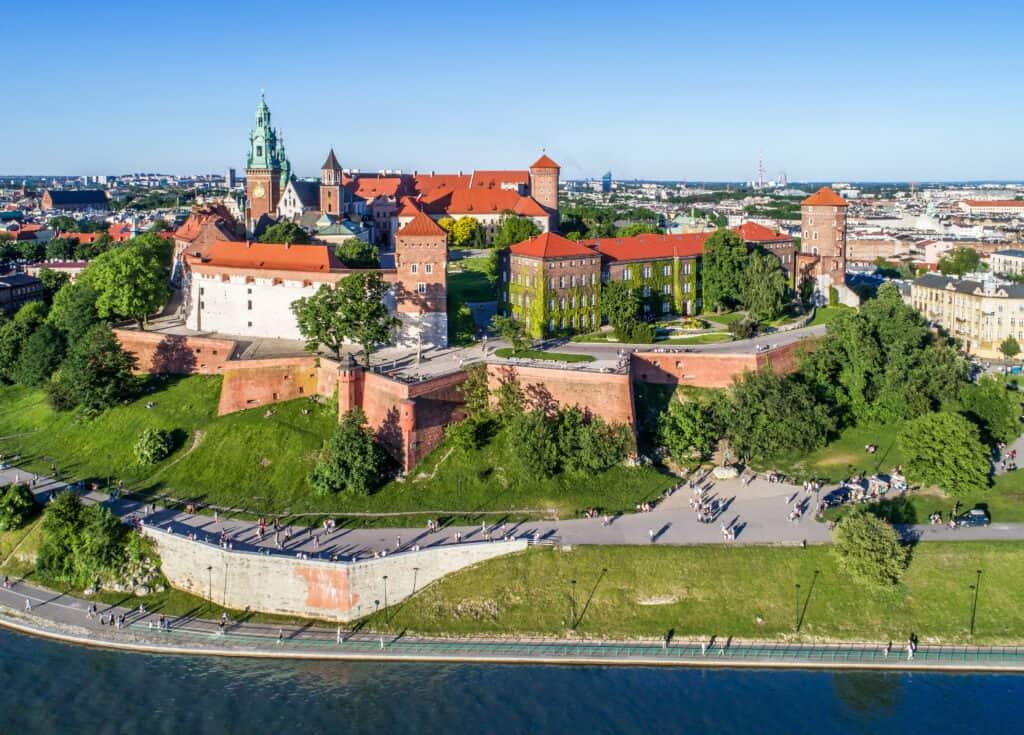 Uitzicht op het Wawel kasteel in Krakau, Polen