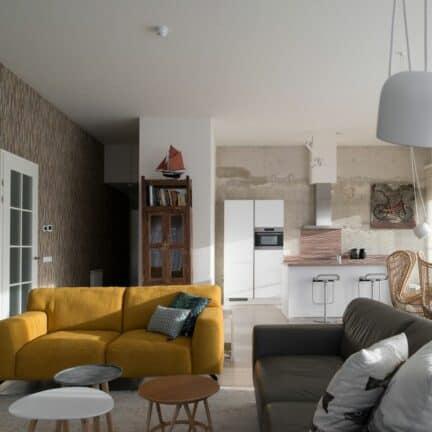 Woonkamer en keuken van LARGO Penthouse Duinhof Cadzand in Cadzand-Bad, Zeeland, Nederland