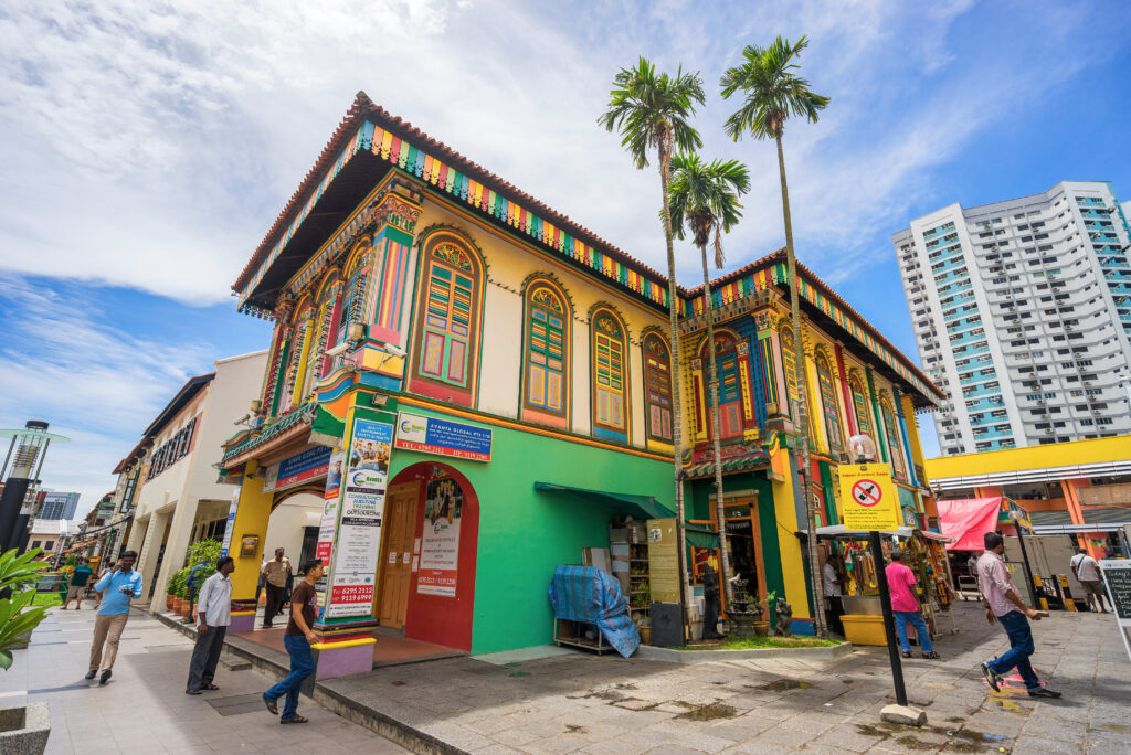 Gekleurd huis in Little India, Singapore