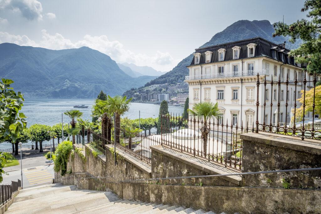 Hotel aan het meer van Lugano in Zwitserland