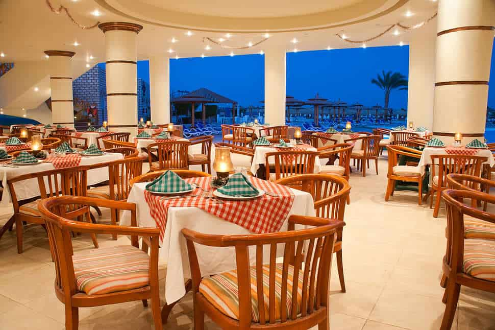 Restaurant van Aladdin Beach Resort in Hurghada, Rode Zee, Egypte