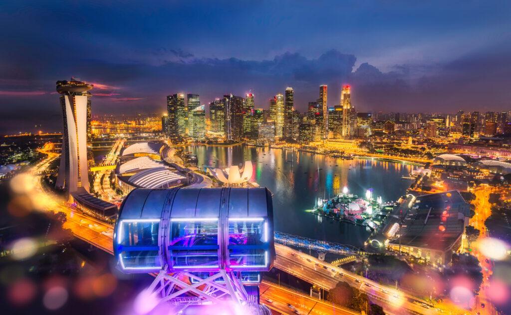Uitzicht op Singapore vanuit de Singapore Flyer