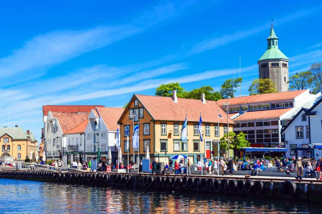 Centrum en haven van Stavanger in Noorwegen
