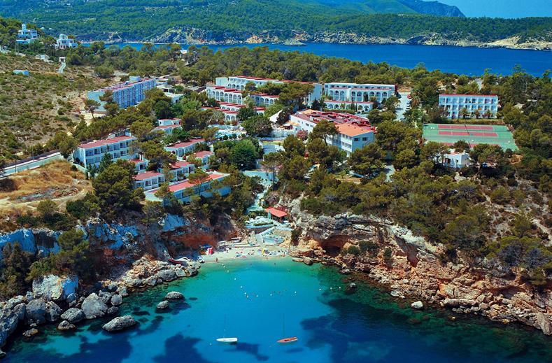 Ligging van Portinatx Beach Club in Cala Portinatx, Ibiza, Spanje