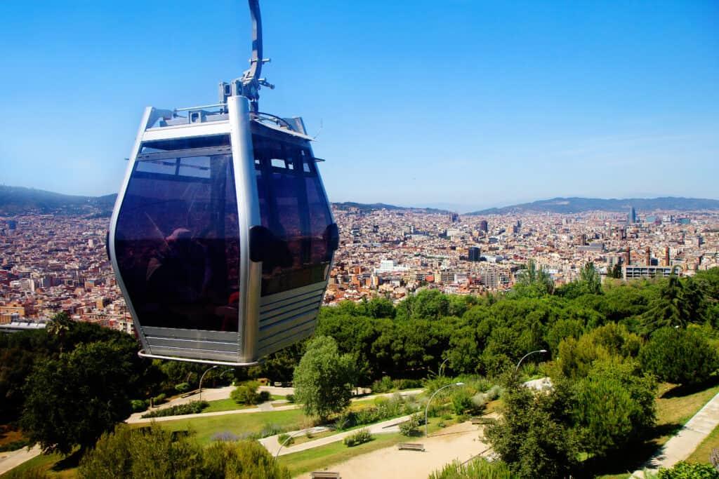 Kabelbaan naar de Montjuic in Barcelona