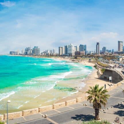 Uitzicht op de kust van Tel-Aviv in Israël