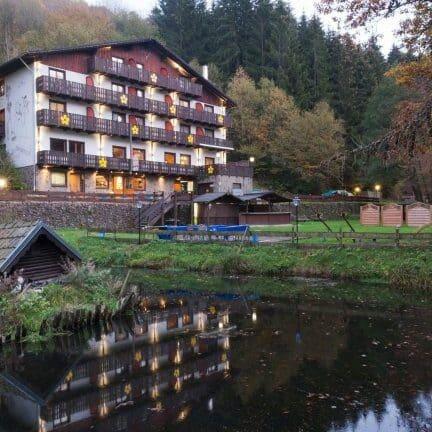 Uitzicht op het Wolffhotel in Kopp, Duitsland