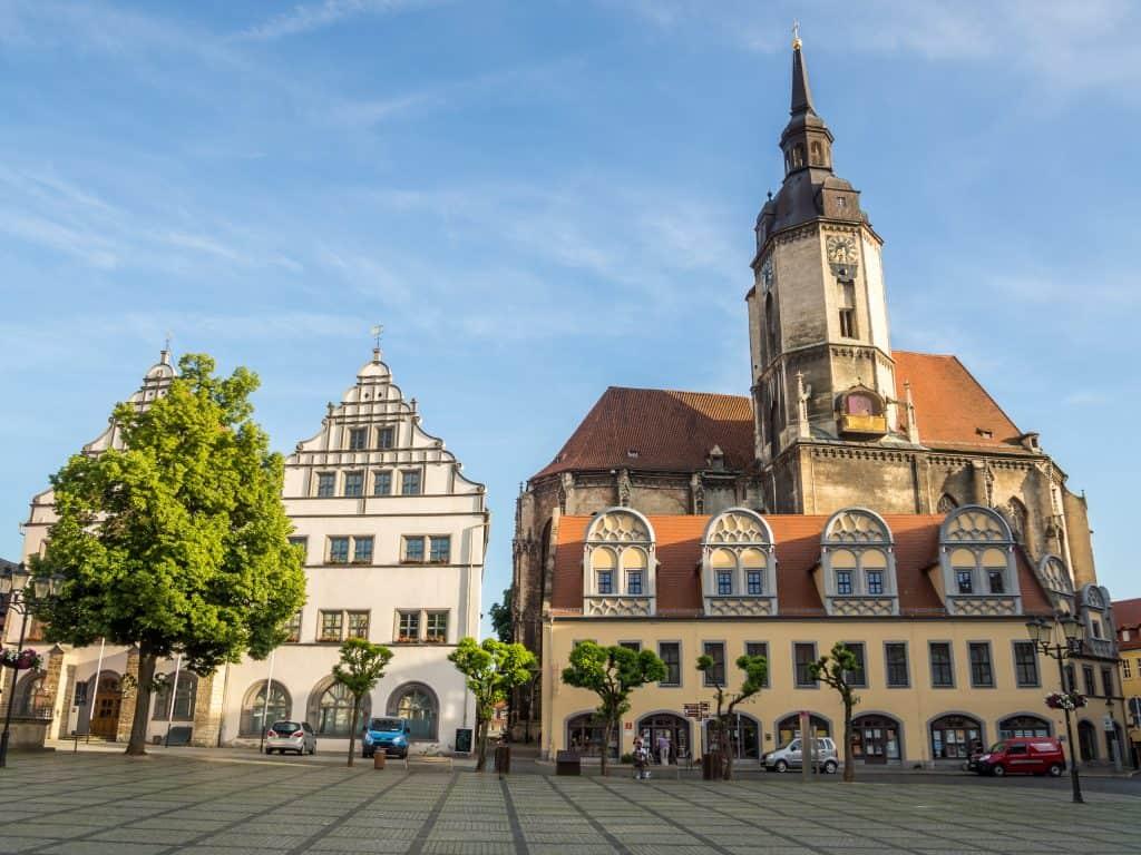 Markt van Naumburg in Saksen-Anhalt